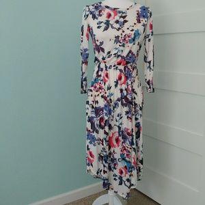 Reb & J Ivory Floral Jersey Knit Midi Dress